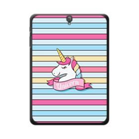 かわいい ベビー ユニコーン(乙女色・ストライプ) Samsung Galaxy Tab S3 9.7 ポリカーボネート ハードケース
