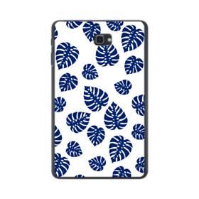 ブルー系リーフのモチーフ Samsung Galaxy Tab A 10.1 ポリカーボネート ハードケース