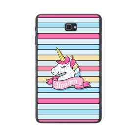 かわいい ベビー ユニコーン(乙女色・ストライプ) Samsung Galaxy Tab A 10.1 ポリカーボネート ハードケース