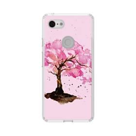 水彩画・桜の木 Google Pixel 3 シリコーン クリアケース