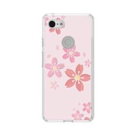 春・桜の花001 Google Pixel 3 シリコーン クリアケース