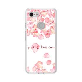 桜&デザイン英文 Google Pixel 3 シリコーン クリアケース