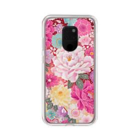 和の花柄:牡丹 Huawei Mate 20 X ポリカーボネート クリアケース