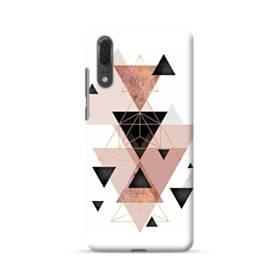 ピンク ブラック ジオメトリック 幾何図 三角 ライン Huawei P20 ポリカーボネート ハードケース