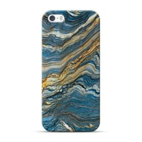 マーブル模様・白&藍 iPhone 5S, 5 ポリカーボネート ハードケース