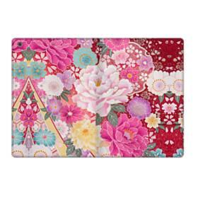 和の花柄:牡丹 iPad 9.7 (2017) 合皮 手帳型ケース
