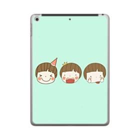 明るいミントグリーンに可愛い子 iPad 9.7 (2018) ポリカーボネート ハードケース
