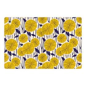 デザイン・花のモチーフ:黄色のひまわり&紺色の葉 iPad Pro 12.9 (2017) 合皮 手帳型ケース