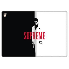 デザイン 白黒系パターン(アルファベット入り:SUPER ME) iPad Pro 9.7 (2016) 合皮 手帳型ケース