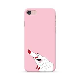 女の子の口紅と赤い爪 iPhone 7 ポリカーボネート ハードケース