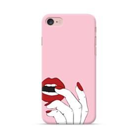 女の子の赤い唇と爪 iPhone 7 ポリカーボネート ハードケース