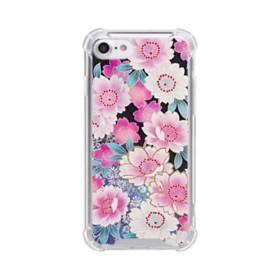 和の花柄 iPhone 8 TPU クリアケース