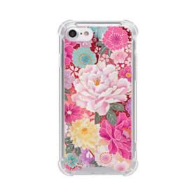 和の花柄:牡丹 iPhone 8 TPU クリアケース