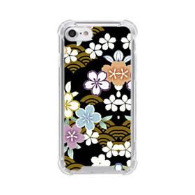 和風・桜&浪 iPhone 8 TPU クリアケース