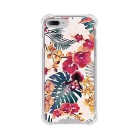 トロピカルな花&リーフ iPhone 7 Plus TPU クリアケース