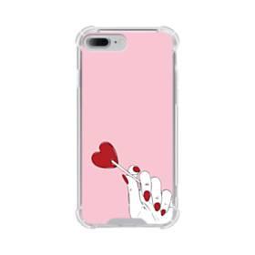 指とハート iPhone 7 Plus TPU クリアケース