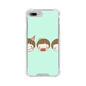 明るいミントグリーンに可愛い子 iPhone 7 Plus TPU クリアケース