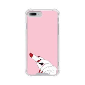 女の子の口紅と赤い爪 iPhone 7 Plus TPU クリアケース