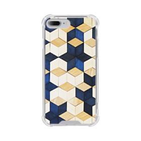 タイル模様・白&紺 iPhone 7 Plus TPU クリアケース