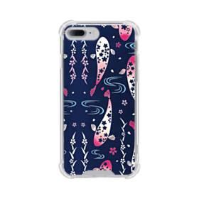 和柄:桜&錦鯉 iPhone 7 Plus TPU クリアケース