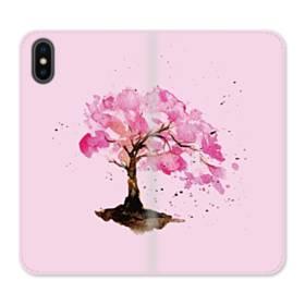 水彩画・桜の木 iPhone X 合皮 手帳型ケース