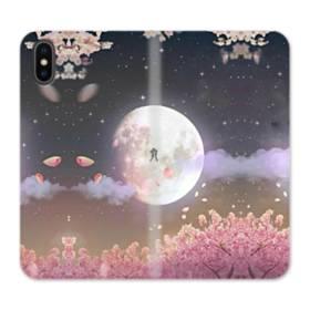 爛漫・夜桜&私たち iPhone X 合皮 手帳型ケース