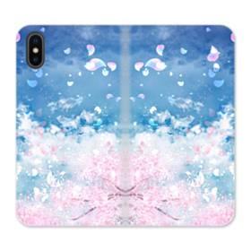 桜の花びら iPhone X 合皮 手帳型ケース