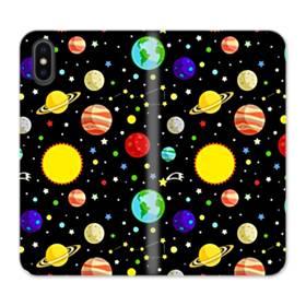 宇宙のモチーフ iPhone X 合皮 手帳型ケース