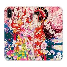 和・花魁&桜 iPhone X 合皮 手帳型ケース