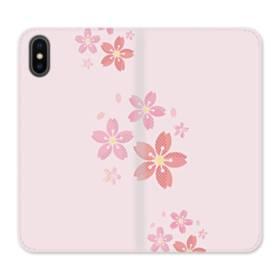 春・桜の花001 iPhone X 合皮 手帳型ケース