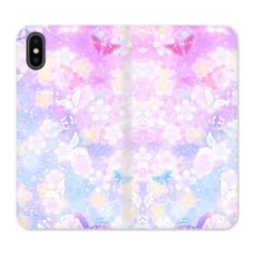 爛漫・抽象的な桜の花 iPhone X 合皮 手帳型ケース