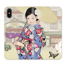 こんにちは、ジャパンガール! iPhone X 合皮 手帳型ケース