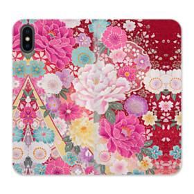 和の花柄:牡丹 iPhone X 合皮 手帳型ケース