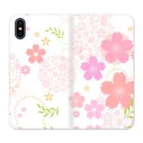 桜の形・いろいろ iPhone X 合皮 手帳型ケース
