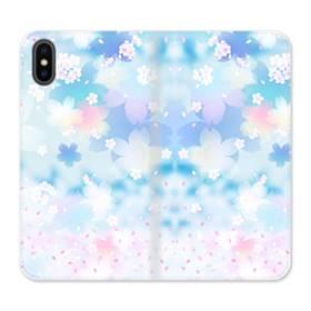 爛漫桜の花 iPhone X 合皮 手帳型ケース