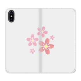 春・桜の花002 iPhone X 合皮 手帳型ケース