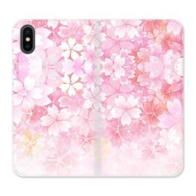 爛漫・ピンク&桜色 iPhone X 合皮 手帳型ケース