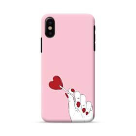 指とハート iPhone X ポリカーボネート ハードケース