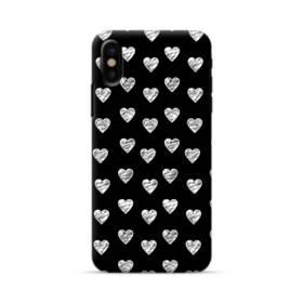 ハートのパターン iPhone X ポリカーボネート ハードケース