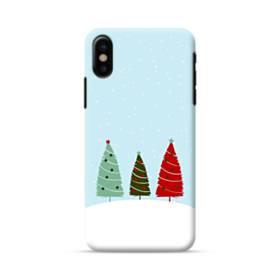 クリスマス デザイン ツリー&雪 iPhone X ポリカーボネート ハードケース