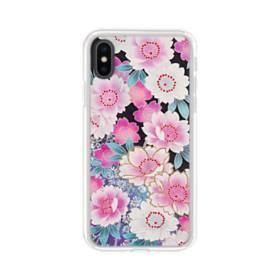 和の花柄 iPhone X TPU クリアケース