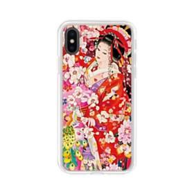 和・花魁&桜 iPhone X TPU クリアケース