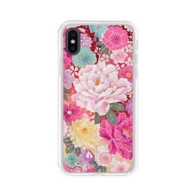 和の花柄:牡丹 iPhone X TPU クリアケース