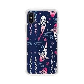 和柄:桜&錦鯉 iPhone X TPU クリアケース