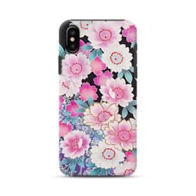 和の花柄 iPhone X ポリカーボネート タフケース