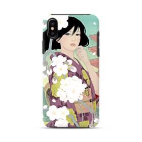 ザ・桜&ジャパンガール! iPhone X ポリカーボネート タフケース