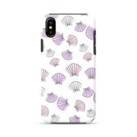 アジサイ色の貝殻のモチーフ iPhone X ポリカーボネート タフケース