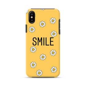 キュートな花のモチーフ&デザイン アルファベット スマイル iPhone X ポリカーボネート タフケース