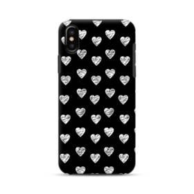 ハートのパターン iPhone X ポリカーボネート タフケース