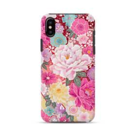 和の花柄:牡丹 iPhone X ポリカーボネート タフケース